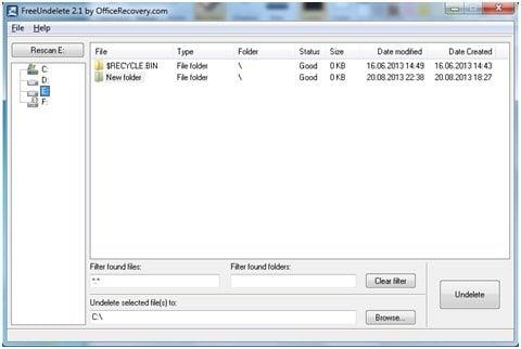 FreeUndelete: Software gratuito de recuperación de datos portátil para Windows 8 2