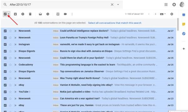 Demasiados mensajes para descargar un mensaje de error en Gmail. 1