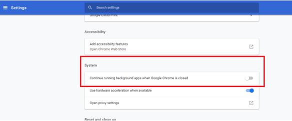 Impedir que Google Chrome se ejecute en segundo plano 5