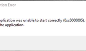 Error de aplicación: La aplicación no se ha inicializado correctamente 0xc000000005