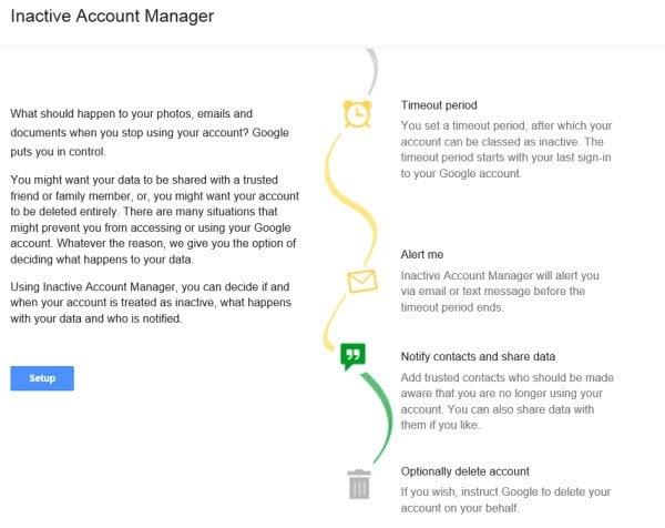 El Administrador de cuentas inactivas de Google te permite planificar tu cuenta de Google después de tu muerte.