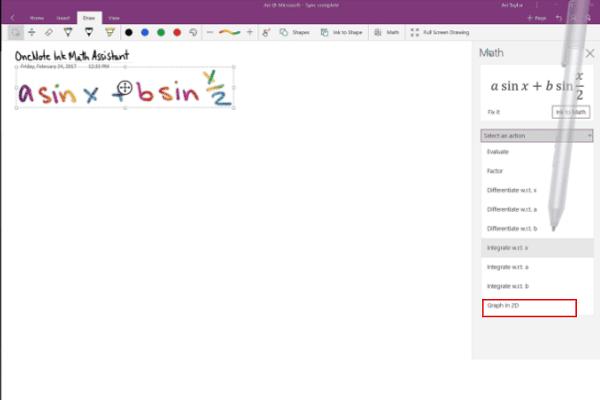 Cómo graficar una ecuación en OneNote para Windows 10 2