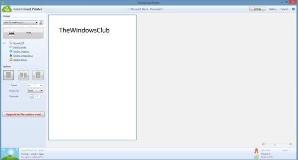 Imprimir archivos usando GreenCloud, un controlador virtual para impresoras