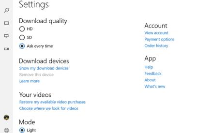 Hacer películas y aplicaciones de TV de Windows 10 siempre descargar vídeos HD