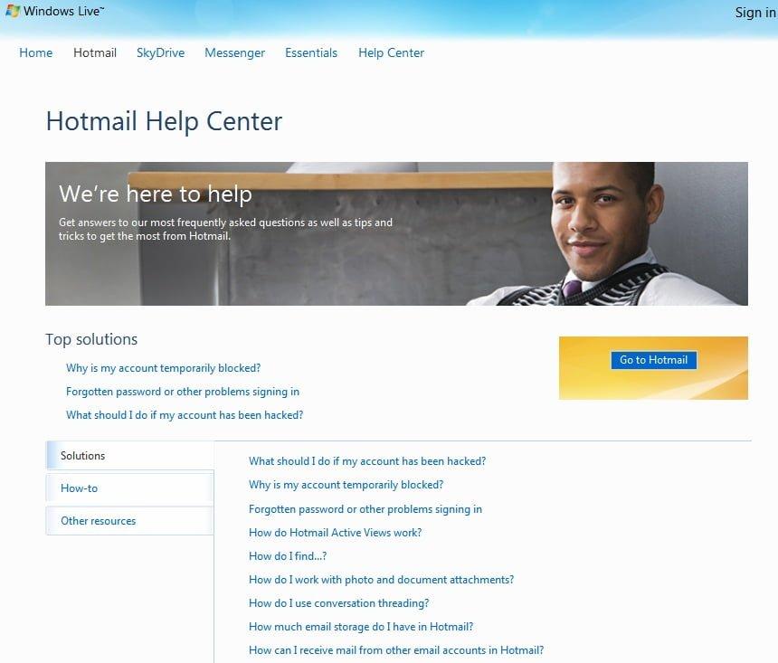 Hotmail actualiza su página de inicio de sesión, sitio web y centro de ayuda