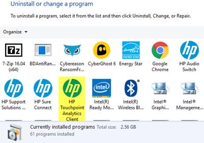 Cómo eliminar el programa de telemetría de HP HP Touchpoint Manager en PC con Windows 10