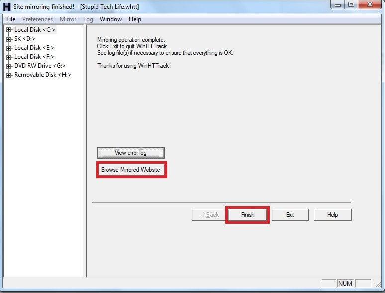 HTTrack es un software gratuito para descargar sitios web para Windows