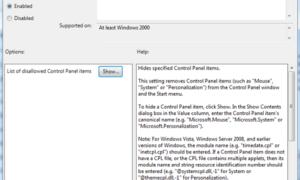 Ocultar, mostrar, añadir y eliminar applets especificados en el panel de control de Windows 10/8/7