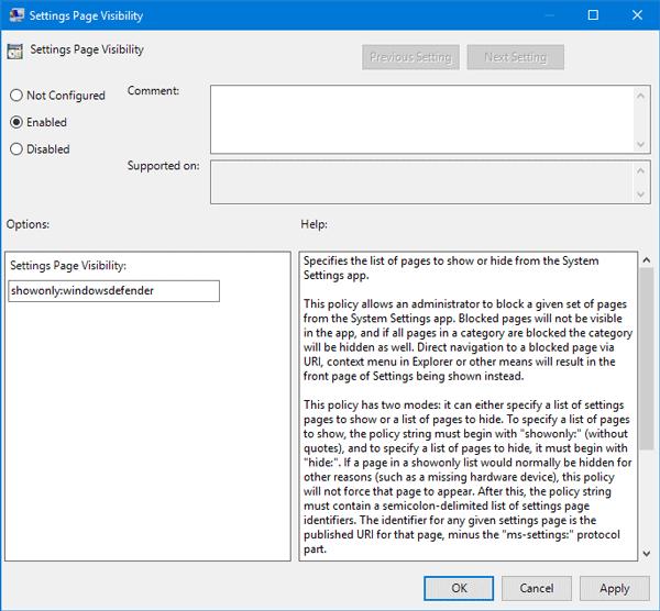 Configure la visibilidad de los parámetros de Windows 10 para ocultar todos o seleccionar los parámetros