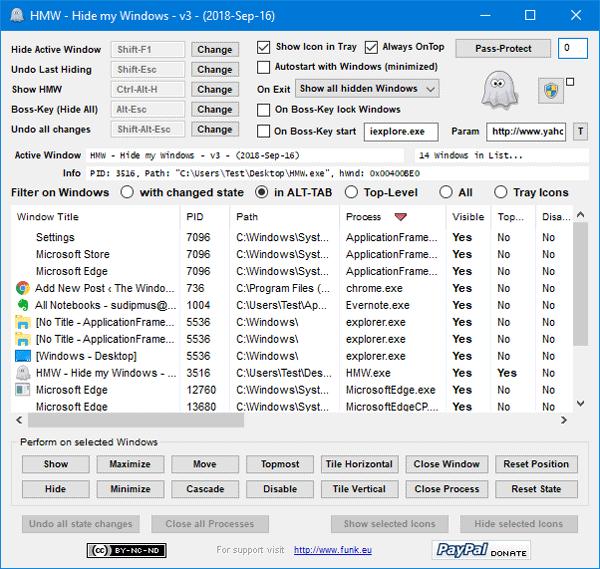 Ocultar mi Windows le permite ocultar programas en ejecución desde el escritorio y la barra de tareas.