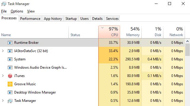 Fijar el alto uso de la CPU por IAStorDataSvc en Windows 10