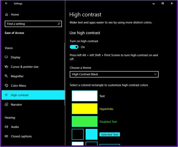 Activar temas de alto contraste en Windows 10 4