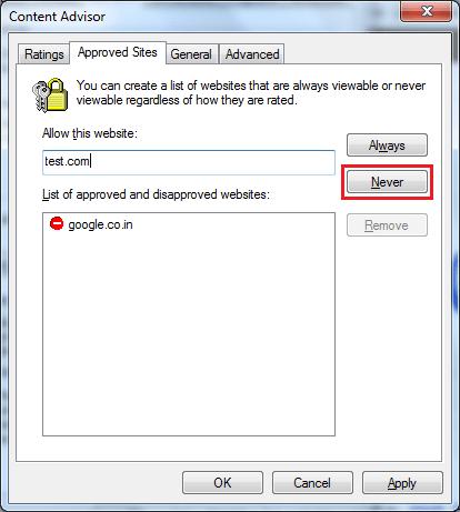 Cómo bloquear sitios web en Internet Explorer utilizando el Asesor de Contenido