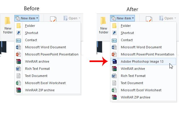 Agregar un nuevo tipo de archivo en Nuevo elemento del menú de la cinta del Explorador de archivos de Windows