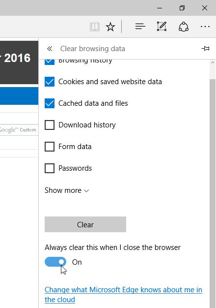 Cómo borrar automáticamente el historial de navegación de Microsoft Edge al salir