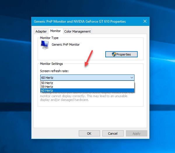 Cómo cambiar la frecuencia de actualización del monitor en Windows 10