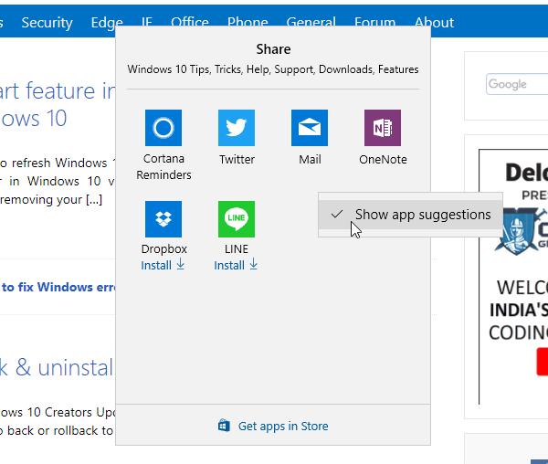 Cómo desactivar las sugerencias de Compartir aplicación en Windows 10