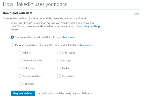 Cómo descargar LinkedIn Data usando LinkedIn Data Export Tool 2