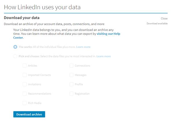 Cómo descargar LinkedIn Data usando LinkedIn Data Export Tool 3