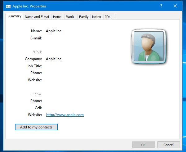 Cómo importar Contactos de Apple a Windows 10