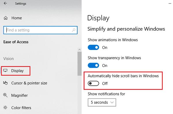 Cómo mantener las barras de desplazamiento siempre visibles en Windows 10 ahora