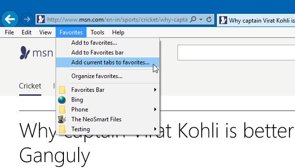Cómo guardar todas las Pestañas o Páginas abiertas como Marcadores o Favoritos en Chrome, Firefox, IE 4
