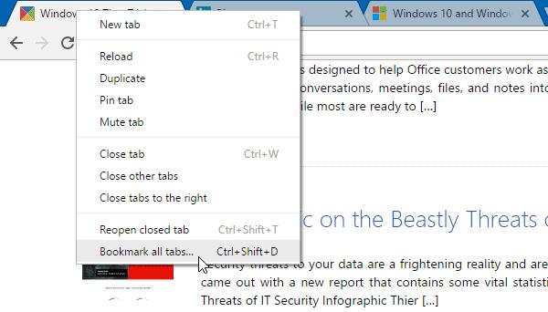 Cómo guardar todas las Pestañas o Páginas abiertas como Marcadores o Favoritos en Chrome, Firefox, IE 1