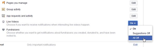Cómo desactivar las notificaciones de vídeo en directo de Facebook