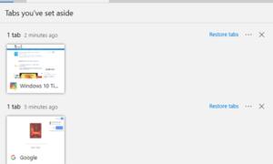 Uso de la función Establecer estas fichas aparte en Microsoft Edge en Windows 10