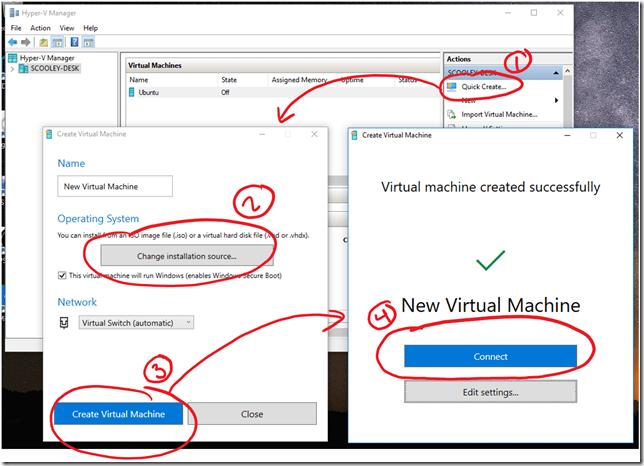 Quick Create y otros cambios en Hyper-V Manager de Windows 10