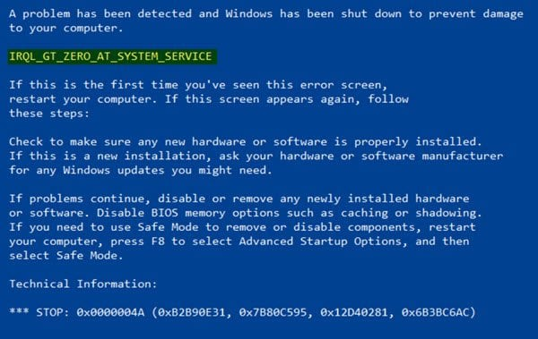 IRQL GT ZERO AT SYSTEM SERVICE Parar Error en Windows 10