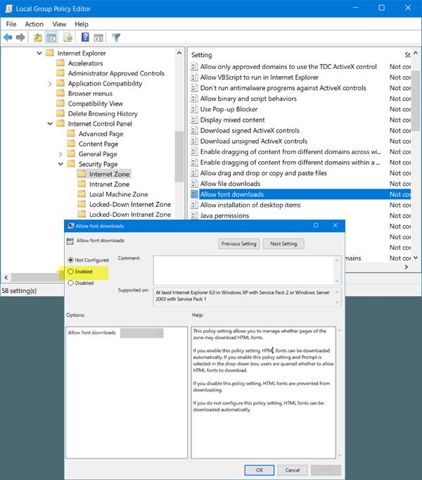 Los iconos y fuentes desaparecen en Internet Explorer 11 en Windows 10
