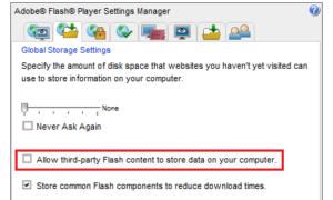 Restringir y desactivar las cookies de Adobe Flash en su equipo con Windows