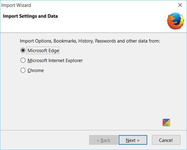 Importar marcadores a Firefox, desde Edge, IE, Chrome 1