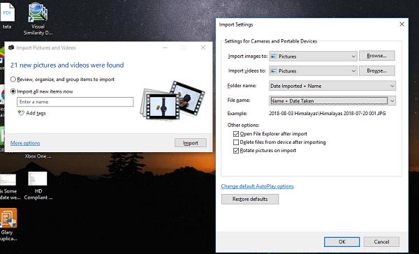 Agregar la fecha y hora a las fotos al importarlas en Windows 10