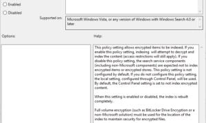 Cómo indexar archivos cifrados en Windows 10