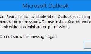 La Búsqueda instantánea no está disponible cuando Outlook se ejecuta con permisos de administrador.