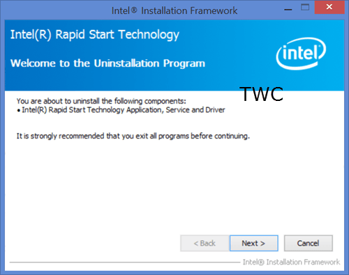 Su sistema no parece tener habilitada la tecnología Intel Rapid Start Technology