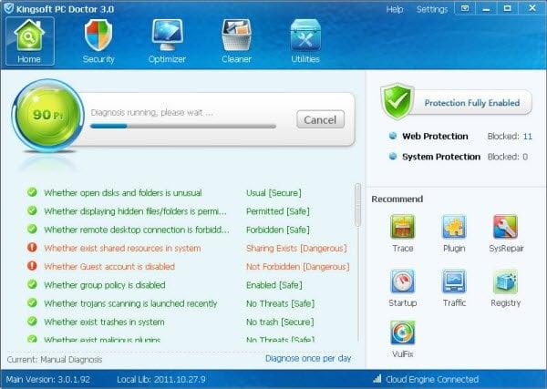 Kingsoft PC Doctor: Un removedor de troyanos, limpiador de chatarra y optimizador de PC gratis