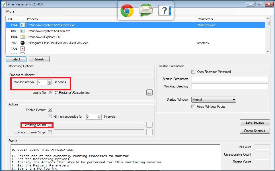 Knas Restarter: Herramienta gratuita y portátil de monitorización y reinicio de procesos para Windows