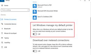 Desactivar Permite a Windows administrar la configuración predeterminada de mi impresora en Windows 10