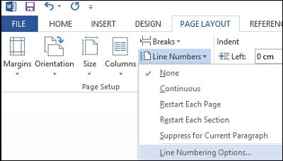 Añadir números de línea en el documento de Word 2013 2