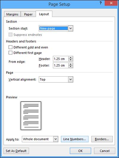 Añadir números de línea en el documento de Word 2013 3