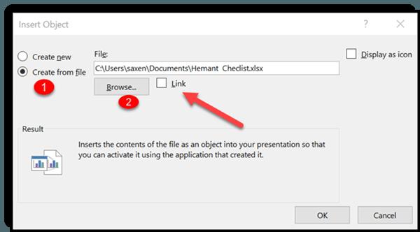 Cómo vincular una parte de los datos en la hoja de cálculo de Excel en Microsoft PowerPoint