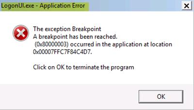 LogonUI.exe Error de aplicación al iniciar en Windows 10