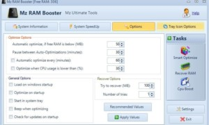 Mz RAM Booster para Windows 10 modifica la configuración del sistema para mejorar el rendimiento del PC