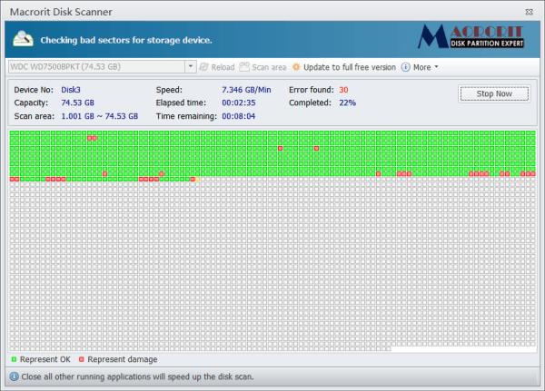 Escáner de disco Macrorit: Escanear el disco duro en busca de sectores y errores incorrectos
