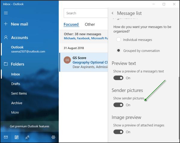 Mostrar imágenes del remitente en los mensajes de Windows 10 Mail App