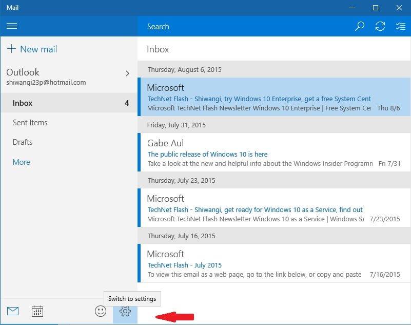 Cómo activar o desactivar la aplicación Notificaciones por correo electrónico de Mail en Windows 10 1