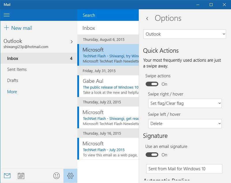Cómo activar o desactivar la aplicación Notificaciones por correo electrónico de Mail en Windows 10 3